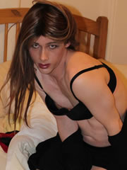 tgirl Kristy in black lingerie