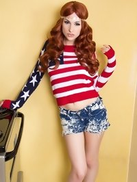 Hot transsexual patriot Bailey Jay dressed as a U.S. flag