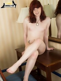 hot shemale foot fetish photos of redhead XXX model