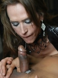 Italian TS Claudia Polansky licking penis